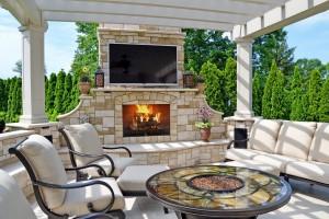 modern outdoor living fireplace