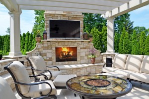 modern outdoor living fireplace