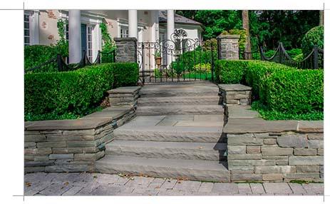 Custom stone walkway with stairs