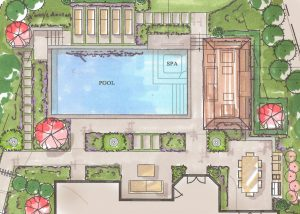 Aerial view of pool and landscape design sketch