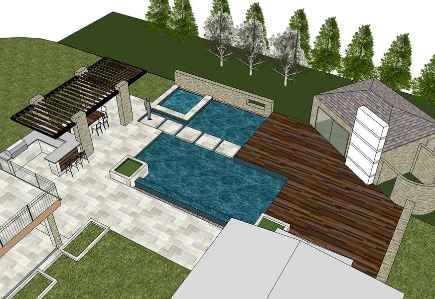 Residential master planning backyard landscape design rendering
