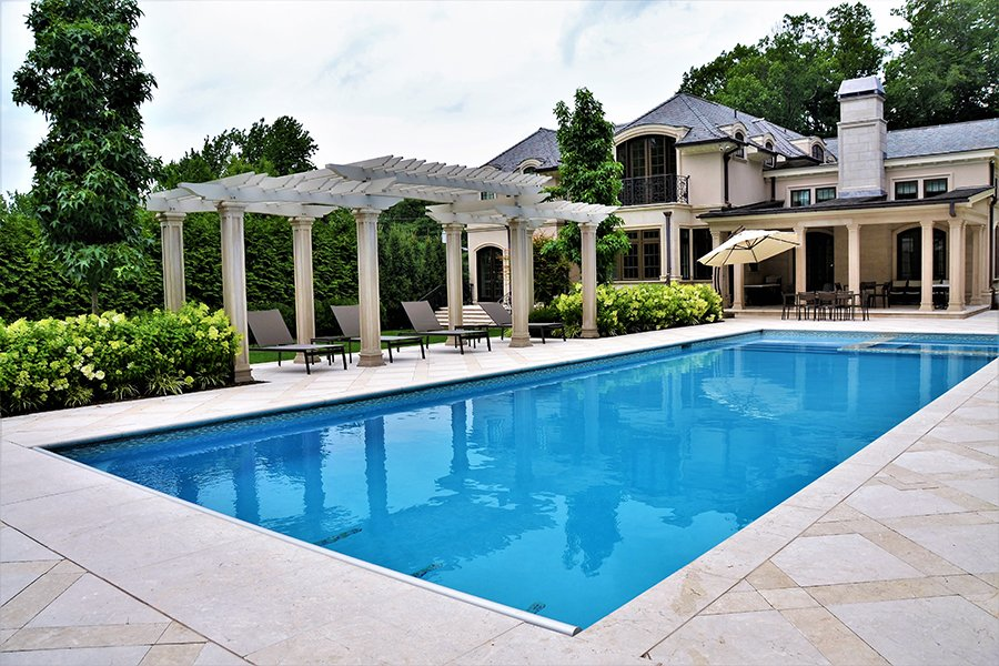 Residential custom inground pool with pergola