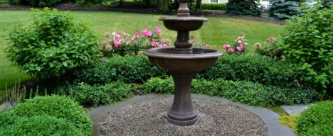 simple landscape design with fountain