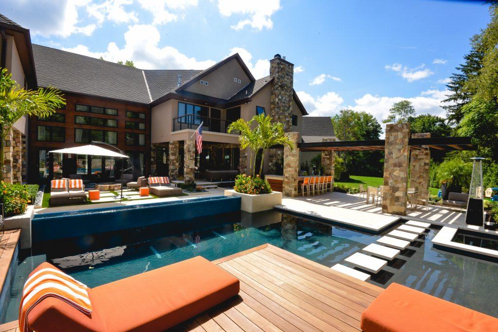 Custom pool design and patio
