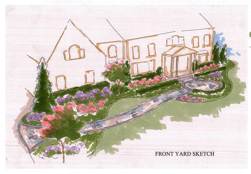 Residential custom landscape design sketch