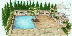 Custom residential pool design sketch